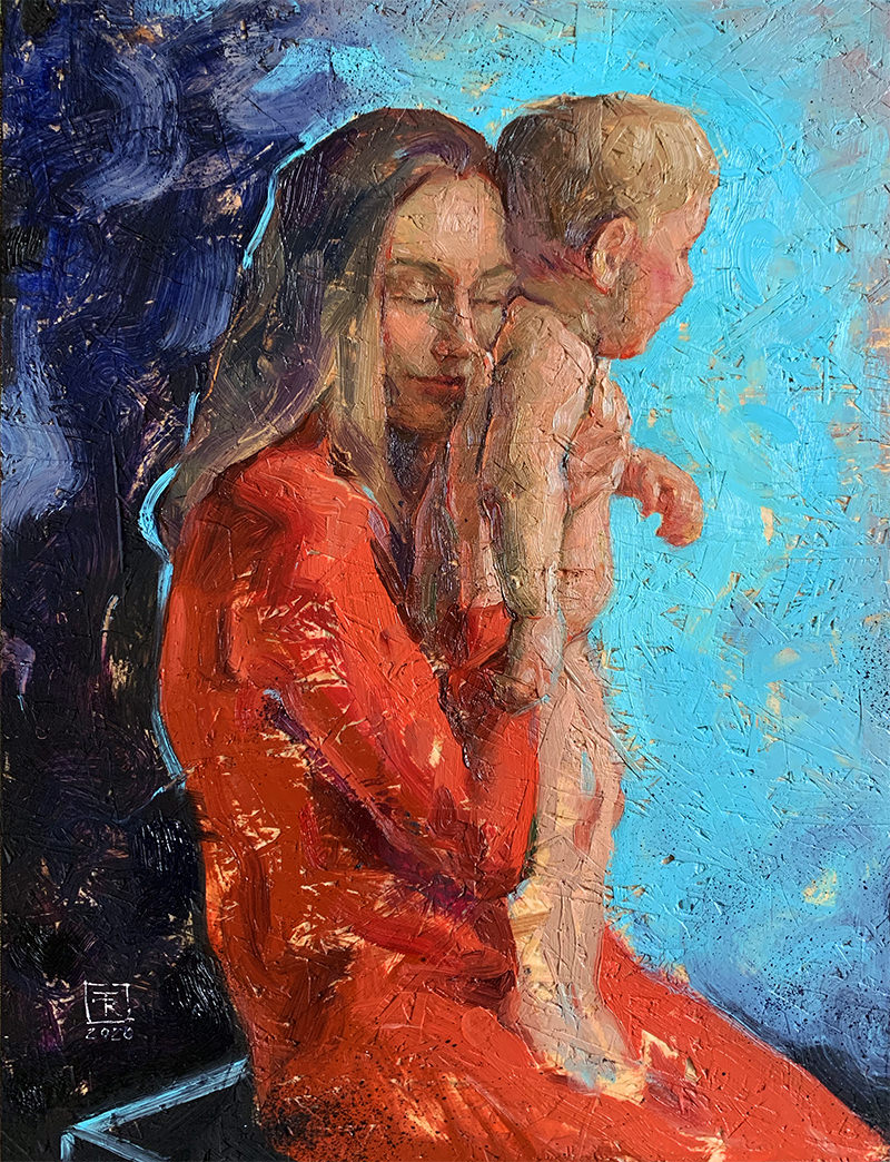 """Tenderness"" oil on wooden panel, 30x40 cm"